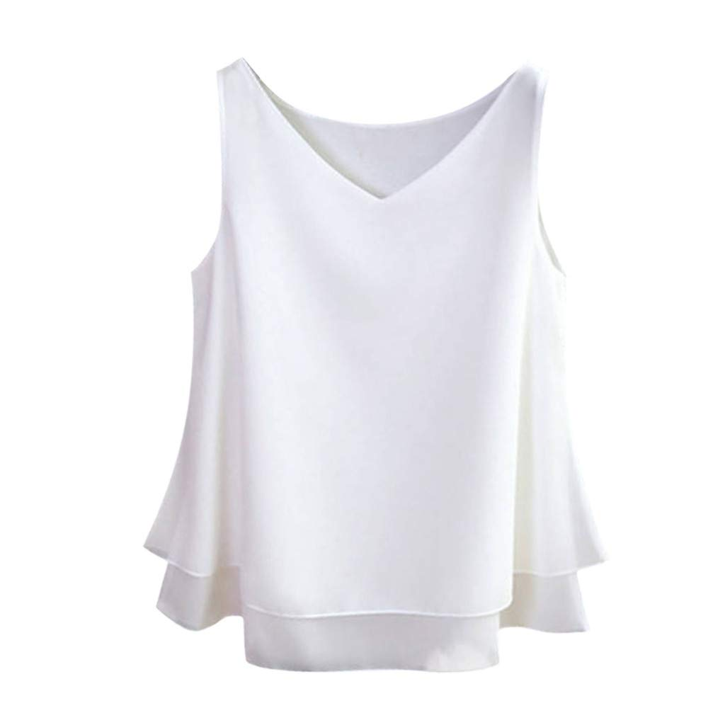 Zaidern Women's Camisole Ladies Summer Sleeveless Chiffon Shirt Solid V-Neck Casual Blouse Tank Top White