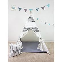 Scandinavia Inspired Grey White Combo Teepee   Kid's   Tent   Tipi   Playhouse   Wigwam   Photo Prop   Princess   Unisex