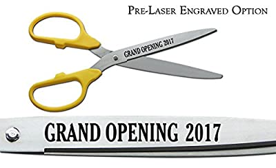 """Pre-Laser Engraved """"GRAND OPENING 2017"""" 25"""" Silver Ceremonial Ribbon Cutting Scissors"""