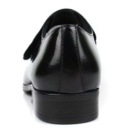 di da NIUMJ Pelle Pigre Black Comodo Scarpe Pelle Scarpe Rotonda Set in Tacco Uomo Basso Piedi Testa Coreane Scarpe Traspirante wXqX8xgBp