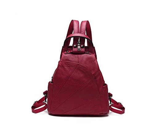 3 2 backpack Lxopr ms Leather Red genuine Wine 9 handbag backpack 12 inch 10 2 ww481q