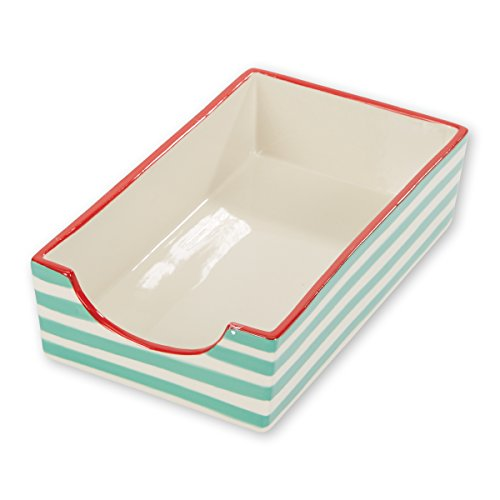 (C.R. Gibson White and Green Striped Stoneware Napkin Holder Caddy, 5.25'' W x 8.5'' H x 2.5'' D)