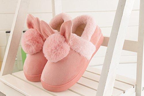 Habuji inverno scarpe di cotone modelli femmina inferiore ingrossata con caldo cotone scarpe shoes home indoor e outdoor pantofole di cotone, 35-36, rosa