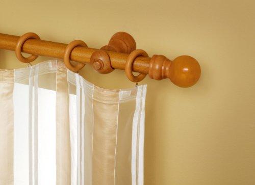 Barra de madera para cortina 150cm 28mm contiene for Soporte para cortinas
