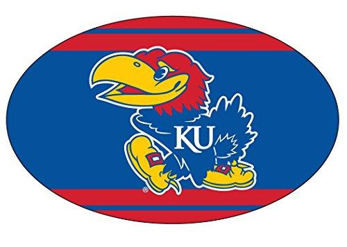 KANSAS JAYHAWKS STRIPE DESIGN OVAL DECAL-KANSAS STICKER-NEW FOR 2016 - Kansas Jayhawks Ncaa Stripes