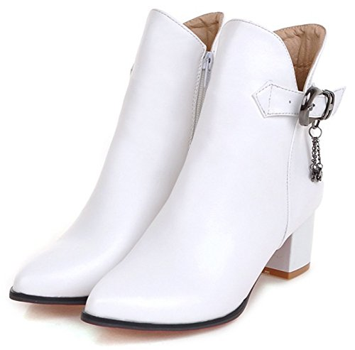 Mid Up Dressy Women's Ankle White Pointed Toe Pendants Heel With Chunky Zip Easemax Boots wB0qFppnx