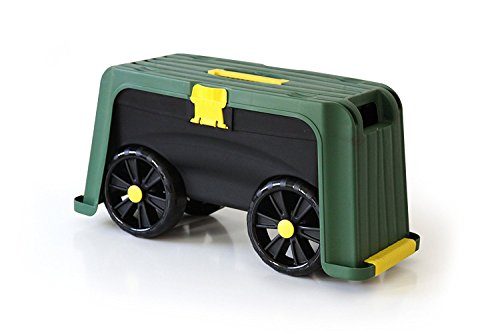 Miracle-Gro 4-in-1 Garden Stool – Multi-Use Garden Scooter with Seat – Rolling Cart with Storage Bin – Padded Kneeler and Tool storage - Accessible Gardening for All Ages + FREE Scotts Gardening Glove (Hopper Garden)