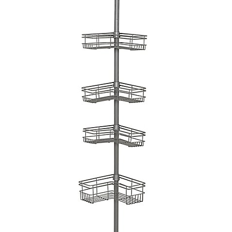 India Ink Tension Corner Pole Shower Caddy in Satin Nickel