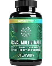 Womens Multivitamin & Mens Multivitamins by Primal Harvest, Primal Multivitamin w/ Vitamin A, Vitamin B12, B6, Vitamin C, Vitamin D, Vitamin E, Biotin & Zinc Supplements, 30 CT Energy Boost & Wellness