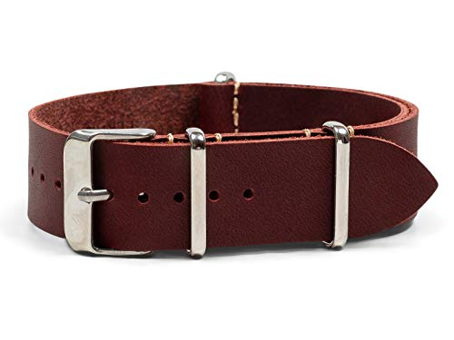 Benchmark Straps 18mm Oxblood Oiled Leather NATO Watchband (More Colors ()