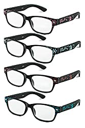 Specs Rectangular Reading Glasses in Floral Designs, Four Color Value Pack, 2.50 Magnification