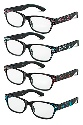 Specs Rectangular Reading Glasses in Floral Designs, Four Color Value Pack, 1.50 - Face A For Glasses Square