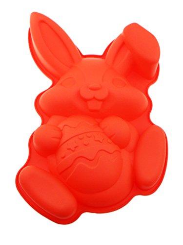 Apol Non-Stick Easter Bunny Rabbit Hold a Egg Silicone Cake Pan Mold Bakeware for Baking