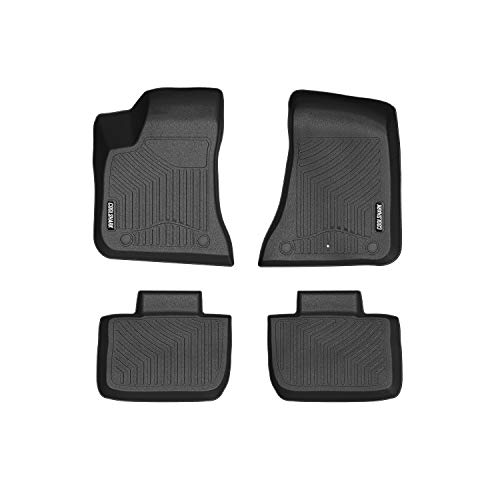 COOLSHARK Dodge Charger Floor Mats, Waterproof Floor Liners Custom Fit for 2011-2019 Dodge Charger and Chrysler 300/300C (Rear Wheel Drive Type),1st and 2nd Row Included-All Weather Protection,Black