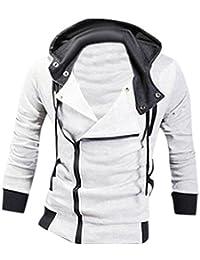 jeansian Men's Slim Fit Jacket Hoodie Shirts 8945 White S