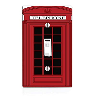 Trendy Accessories Decorative Popular Red British Phone Box Design Print Image Plastic Light Switch Wall Plate Cover. Screws Included.: Home & Kitchen