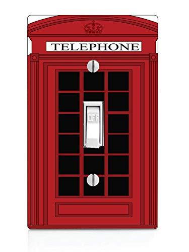 Telephone British - Trendy Accessories Popular Red British Phone Box Design Print Image Light Switch Plate