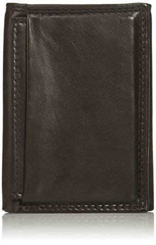 Brown Buxton Leather - Buxton Men's Emblem-Leather Id Threefold Wallet, Brown, One Size