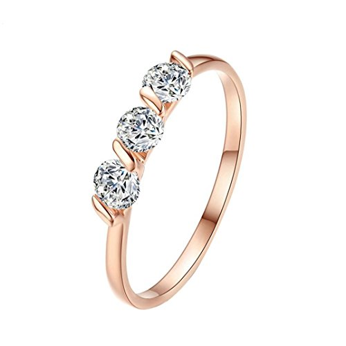 (Sunward Rhodium Plated Clear Crystal Princess Baby Rings Size 6 7 8 9 (Rose Gold, 8))