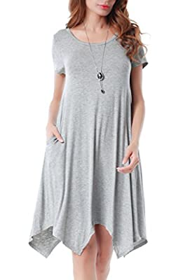 Invug Women Casual Soft Crewneck Short Sleeve Pockets Swing T-shirt Dress
