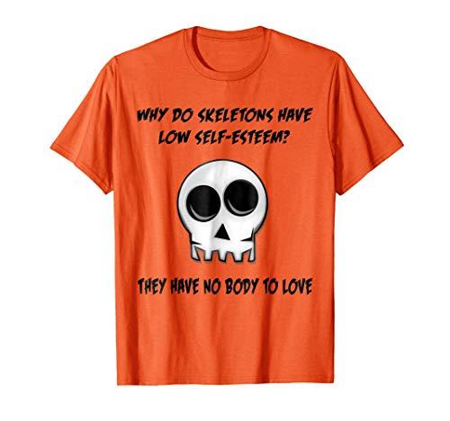 Orange Skeleton No Body Halloween T-Shirt Bad Joke Funny Tee