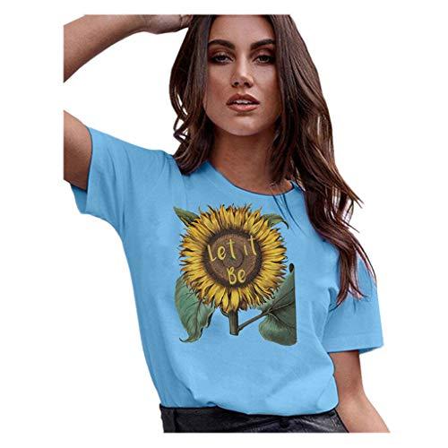 Aunimeifly Summer Woman's Stylish Tee Ladies Rise and Shine Sunflower Graphic Round Neck Short Sleeve T-Shirt ()