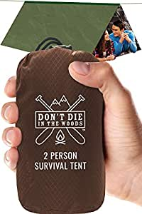 World's Toughest Ultralight Survival Tent  2 Person Mylar Emergency Shelter Tube Tent + Paracord  Year-Round All Weather Protection For Hiking, Camping, & Outdoor Survival Kits (Army Green)