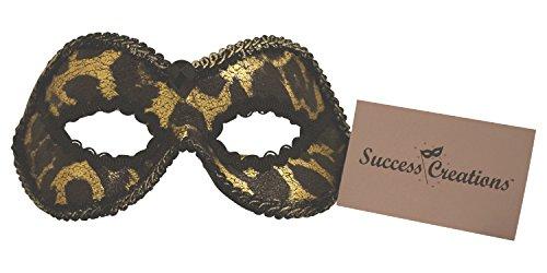 Success Creations Anika Masquerade Mask Women Gold Black Leopard ()