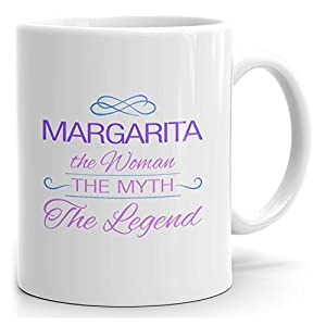 Margarita tea mug - The Woman The Myth The Legend - at Home or in the Office - 15oz White Mug - Purple