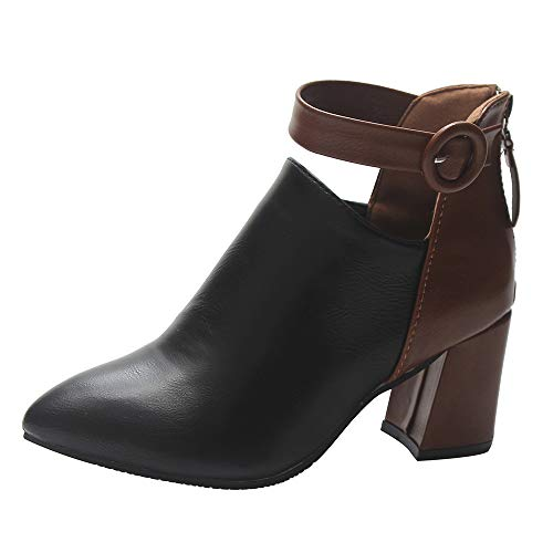 vermers Women Ankle Boots Fashion Ladies Zip Pointed Toe High Heel Boots Button Casual Shoes(US:8.5, Black)
