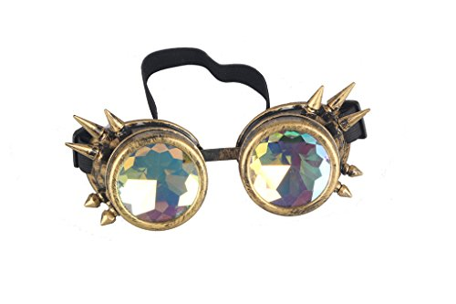 Careonline Vintage STEAMPUNK GOGGLES&Glasses Bling Lens Rustic Goth COSPLAY PARTY Rivets, Brass (Spikes), One - Glasses Crazy