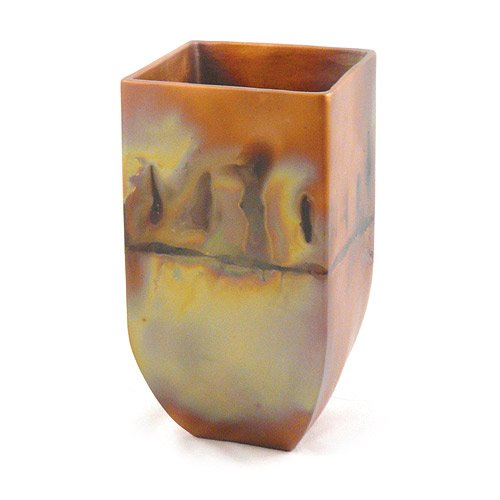 Copper Patina Square Mantel Vase, 9