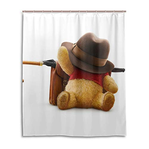 (Shower Curtain Winnie The Pooh Umbrella Hat Backpack Sleeping 3D Printing Personality Waterproof Resistant Shower Curtains 12 Hooks 60X72 Inch)