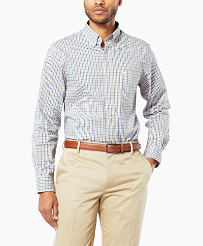 Dockers Men's Long Sleeve Button Front Comfort Flex Shirt, Gingham Tatter XL ()