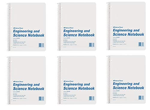 National Brand Engineering and Science Notebook, College with Margin and 10 X 10 Quad, White, 11 x 8.5 Inches, 60 Sheets (33610), 6 Packs ()