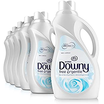 Downy Ultra Free & Gentle Liquid Fabric Conditioner (Fabric Softener), 34 Oz Bottles, 6 Pack, 240 Loads Total