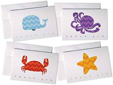 Under The Sea Chevron Animals Thank You Cards Variety Pack – For Baby Showers or Kids – 48 Cards with Envelopes