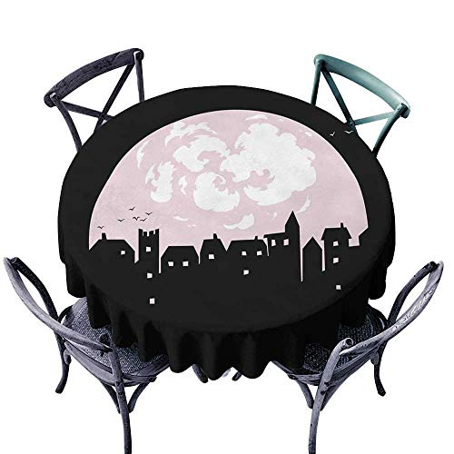 Table Cover for Dinner KitchenMystery town silhouette with moon birds houses windows and clouds in the sky vector illustration Night city for postcard helloween greeting cards print ads poster and -