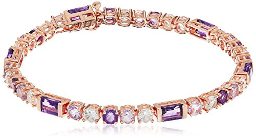 14k Rose Gold Plated Sterling Silver Genuine Amethyst and Created White Sapphire Bracelet, ()