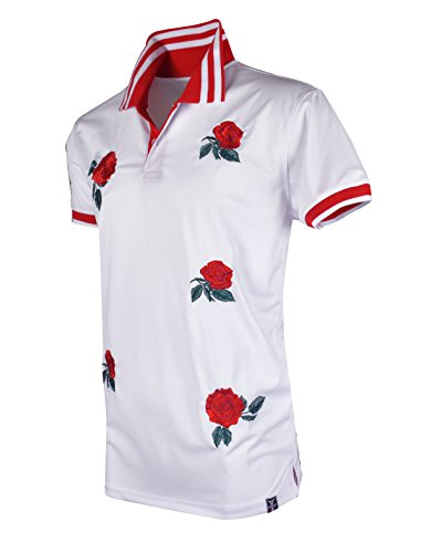 SCREENSHOTBRAND-S11815 Mens Hipster Hip-Hop Premium Tees - Stylish Fashion Rose Flower Embroidery Polo T-Shirt - White-Small