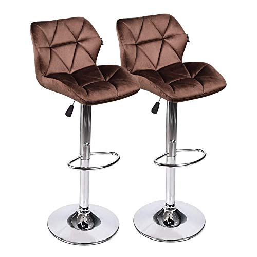 Elecwish Bar Stools Set of 2 White PU Leather Seat with Chrome Base Swivel Dining Chair Barstools Brown Flannel