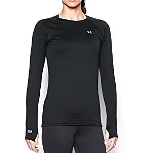 Under Armour Women's Base 2.0 Crew, Black/Glacier Gray, Medium