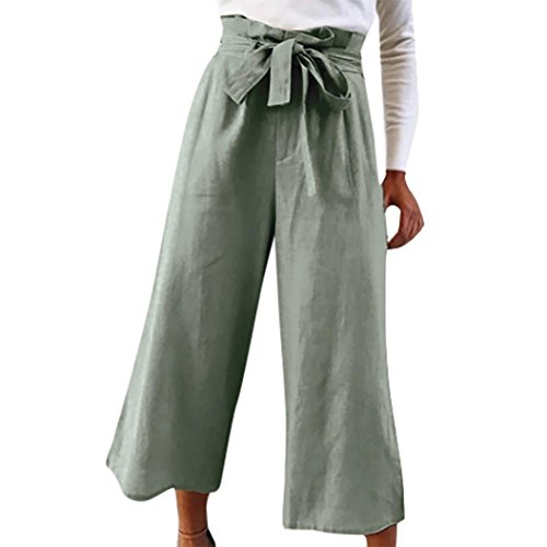 Pervobs Women Pants, Big Promotion! Women Causal Daily High Waist Solid Bow Tie Wide Leg Calf Length Long Pants Trousers (XL, Army Green) (Pants Leg Knit Cardigan Wide &)
