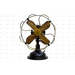 "Antique Brass Vintage Table Fan 13"" Low Noise Operation Energy Saving Normal Speed Fan"