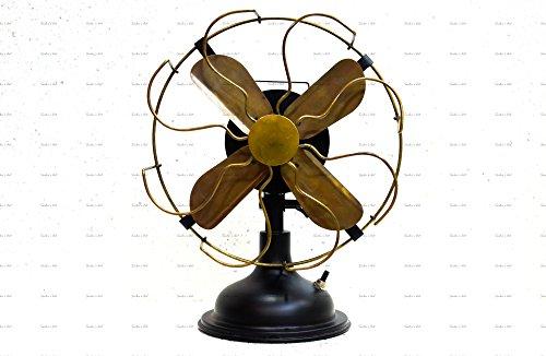 """Antique Brass Vintage Table Fan 13"""" Low Noise Operation Energy Saving Normal Speed Fan"""