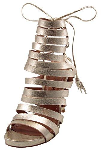 Sandalia De Vestir Carrano Aby En Una Pinza De Cuero De Tacón De Oro