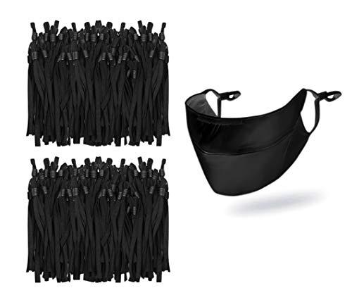 Elastic String Adjustable Ear Loops for Masks, 1/5 Inch Soft Flat Mask Elastic Band Cord Ear Straps Rope for DIY Mask Sewing Supplies, 100PCS Black