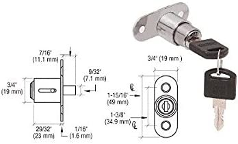 C.R LAURENCE LK54KA CRL Nickel Plated Keyed Alike Track Plunger Lock