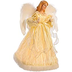 Kurt Adler 10-Light Ivory Angel Treetop, 12-Inch