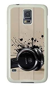 Samsung Galaxy S5 Case Cover - Headphones Music Hard Case Cover For Samsung Galaxy S5 - PC White